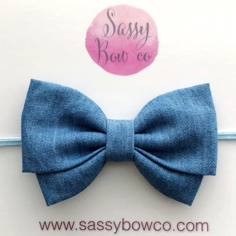 Chambray Madi Cotton Bow