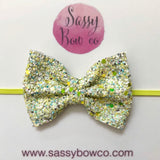 Small Lemon Drop Glitter Bow