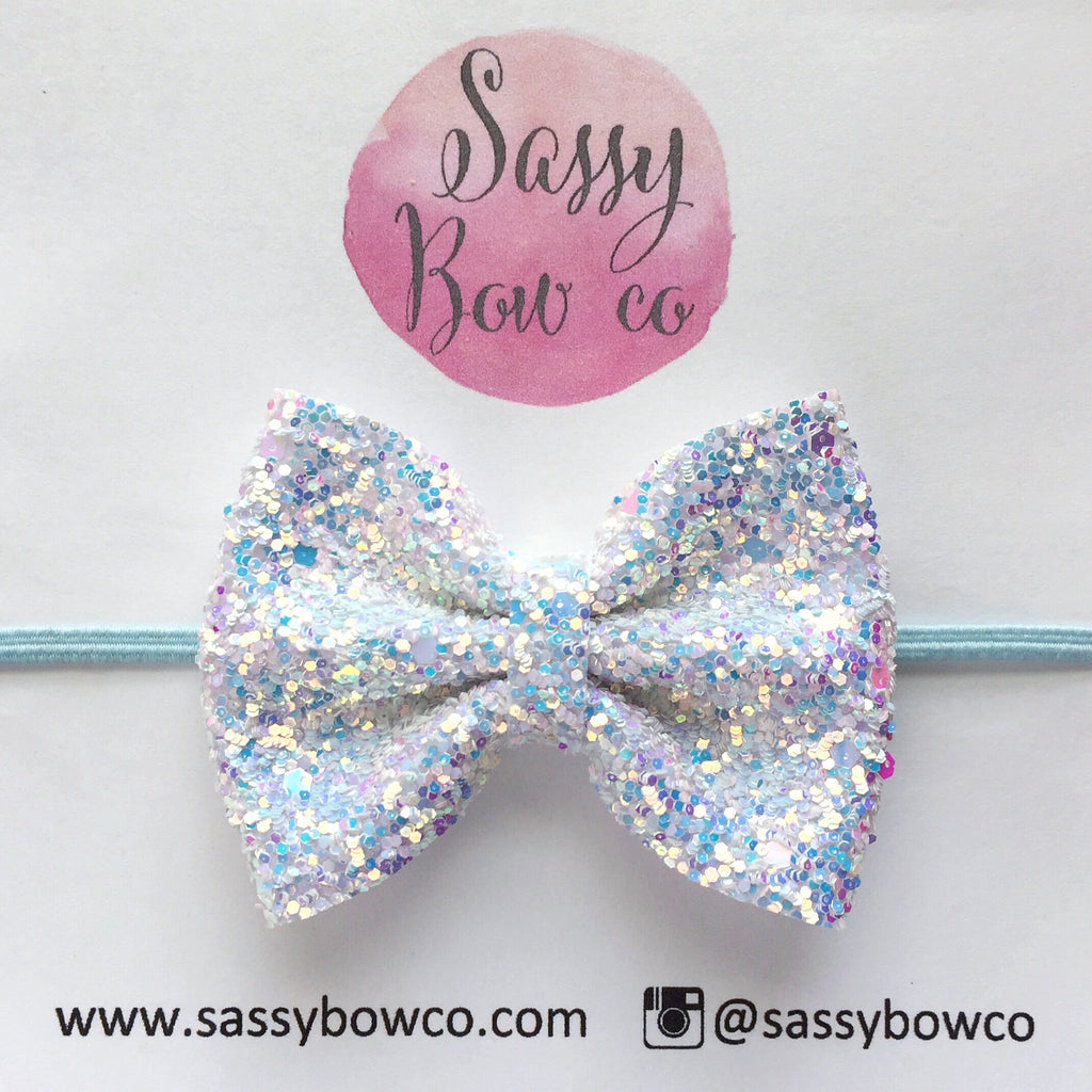 Small Ice Princess Glitter Bow