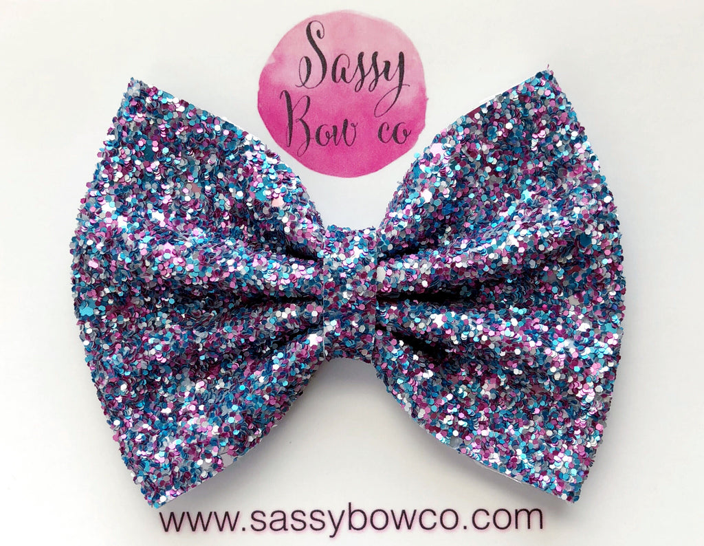 Large Matte Cotton Candy Glitter Bow