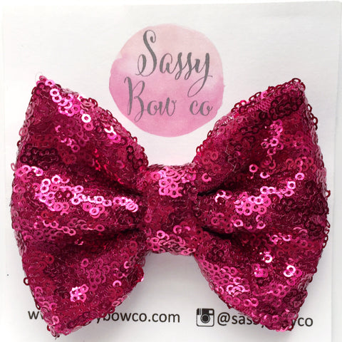 Hot Pink Sequin Bow