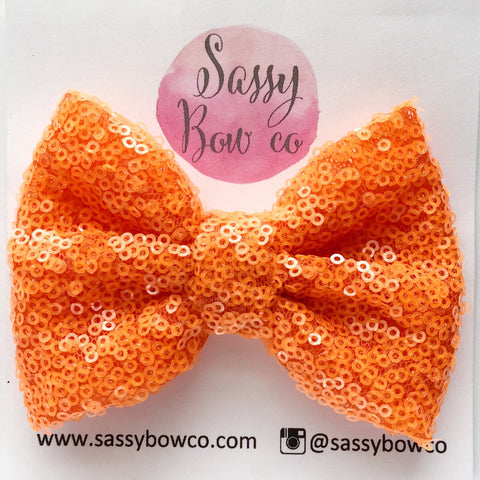 Neon Orange Sequin Bow
