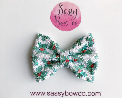 Mistletoe Small Glitter Bow