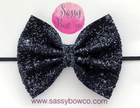 Large Black Glitter Bow