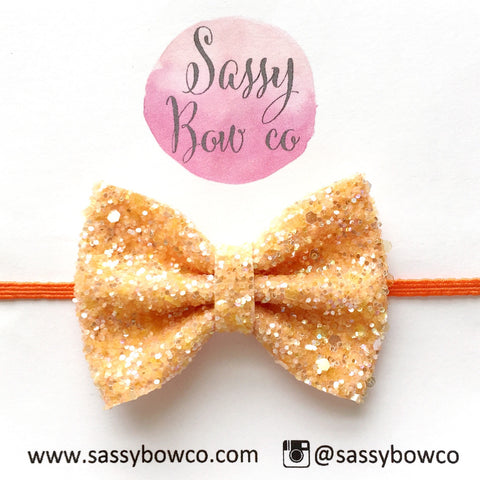 Small Orangesicle Glitter Bow