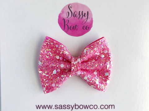 Unicorn Party Small Glitter Bow
