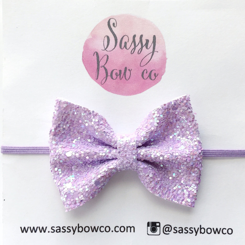 Small Lilac Glitter Bow