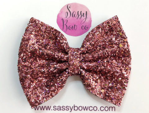 Large Bronze Rose Glitter Bow