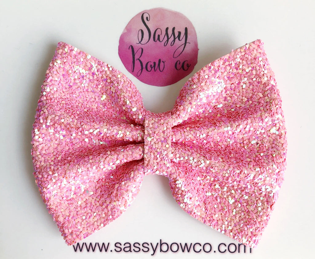 Large Pixie Pink Glitter Bow
