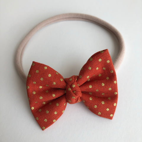 "Burnt Orange Gold Dot 2"" Chloe bow"