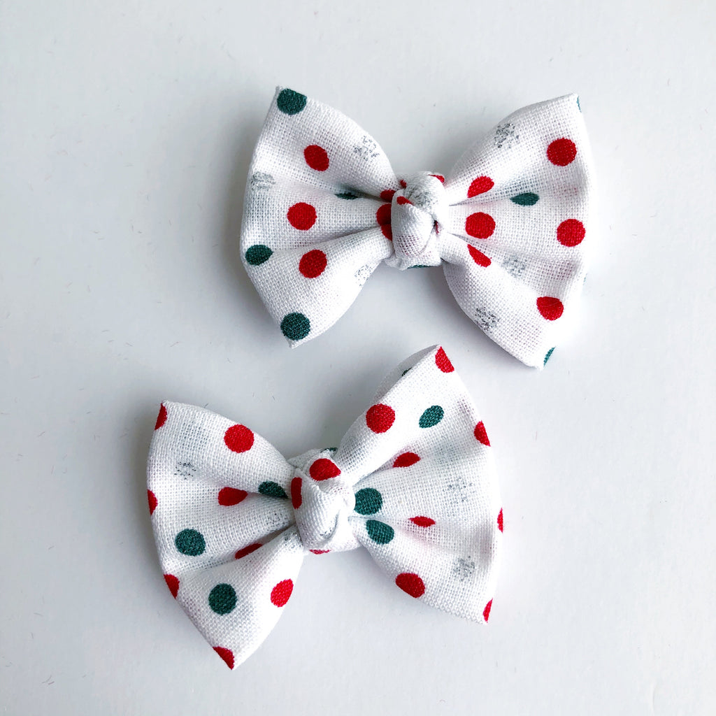 "Christmas Dots 2"" pigtail set"