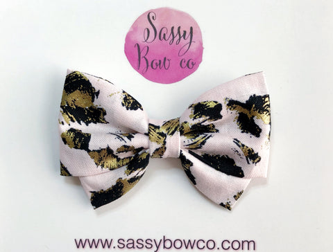 Pink + Gold Leopard Madi Cotton Bow