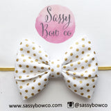 Gold Mini Dot Madi Cotton Bow
