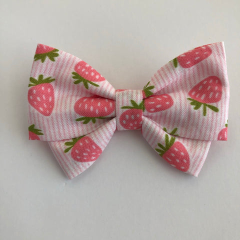 Strawberry Stripes Madi Cotton Bow