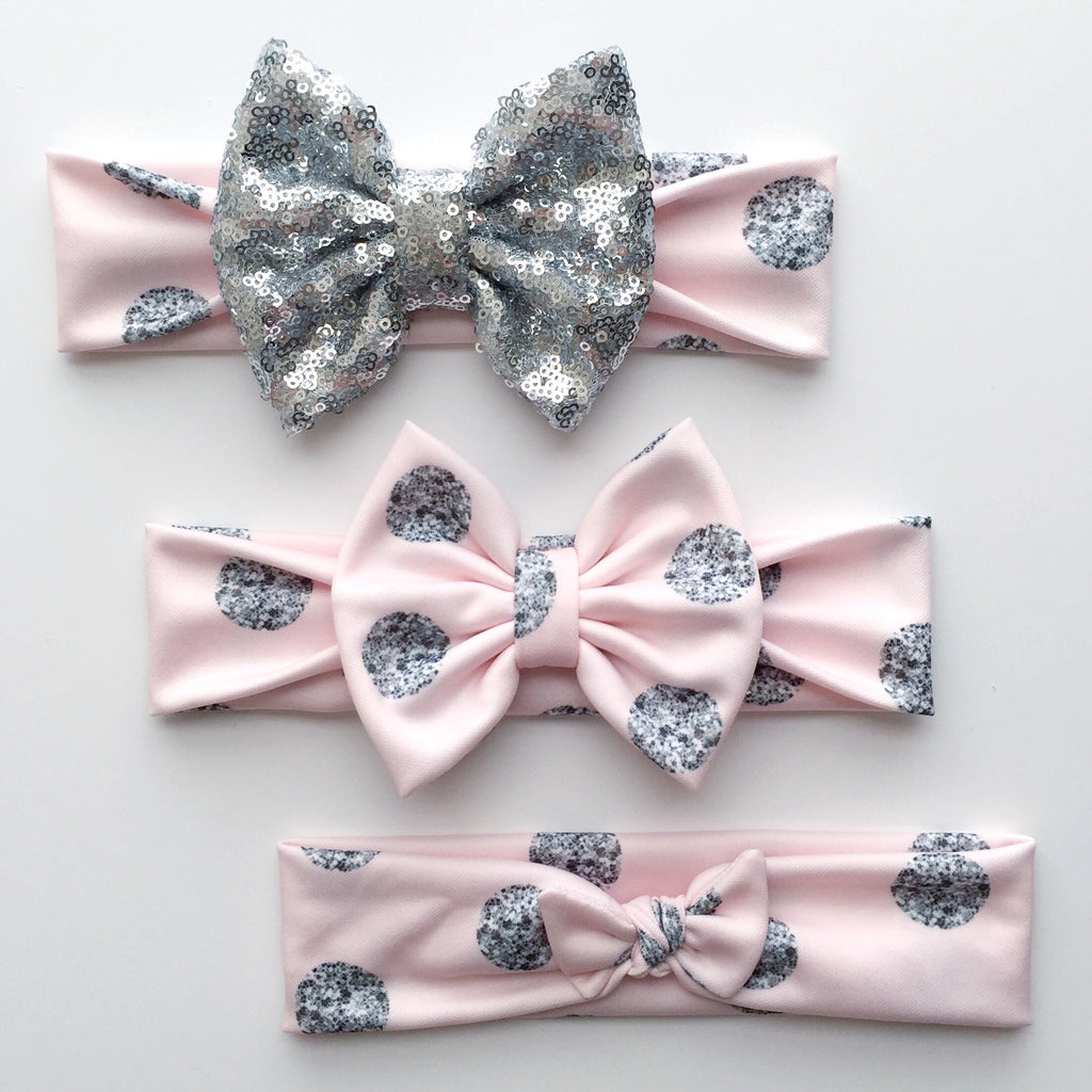 Baby Pink Silver Glam Dot Headbands