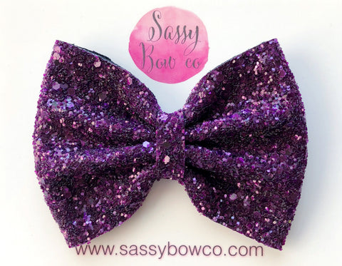 Large Plum Glitter Bow