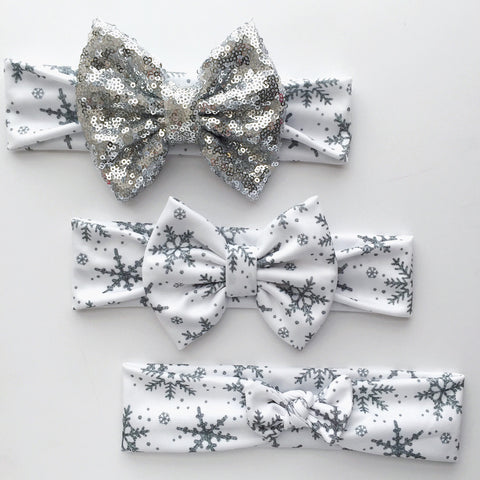 Silver Glam Snowflake Headbands
