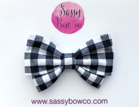 Gingham Madi Cotton Bow