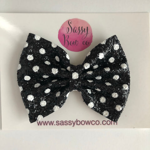 Black Minnie Dot Large Glitter Bow