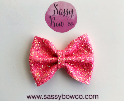 Small Barbie Pink Glitter Bow