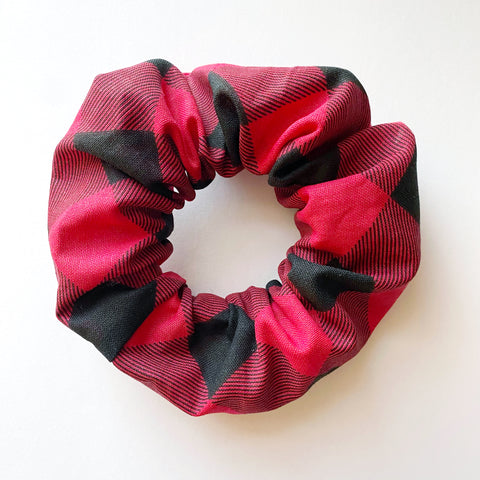 Cotton Red Buffalo Plaid Scrunchie