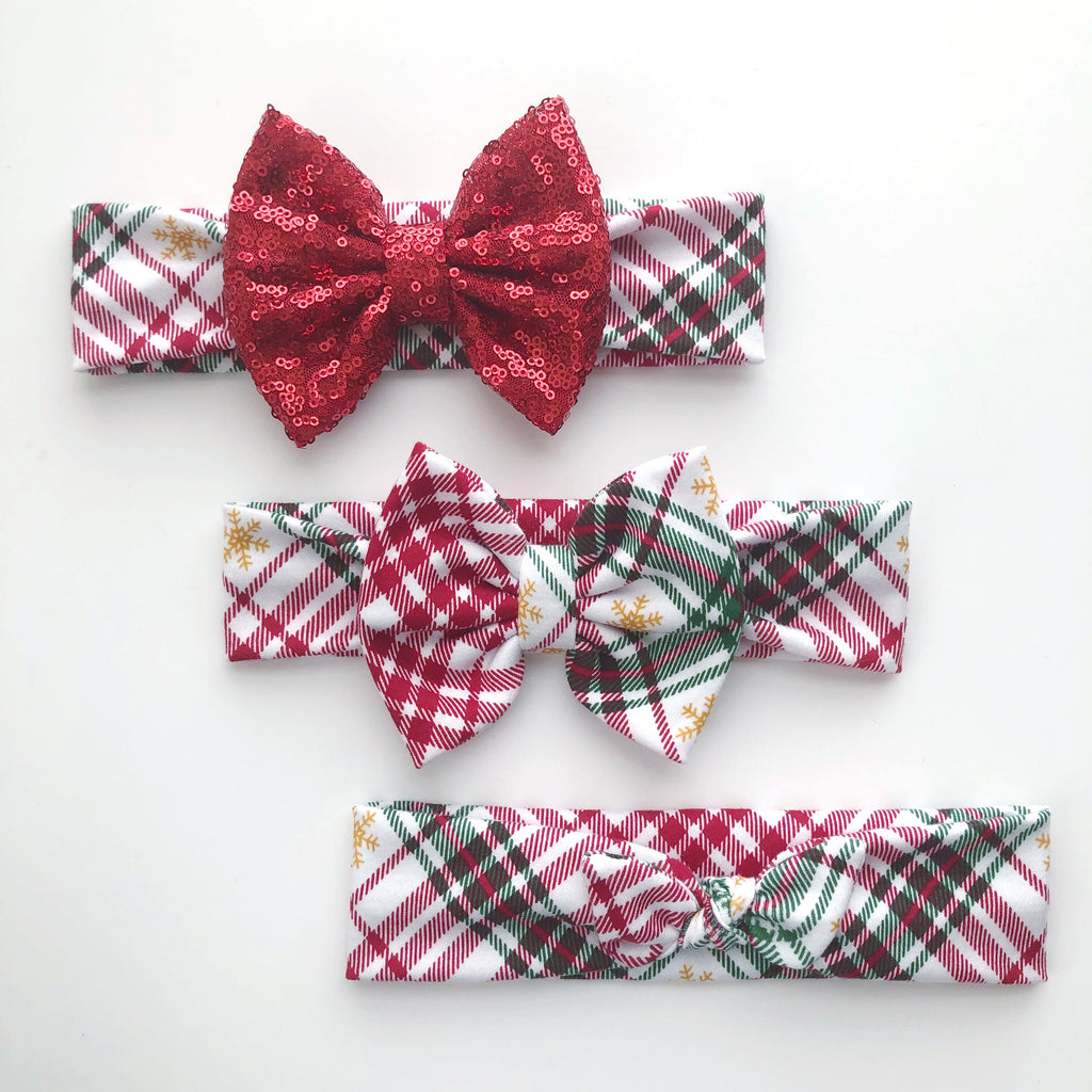 Plaid Snow Flake Headbands