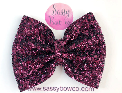 Large Cranberry Glitter Bow