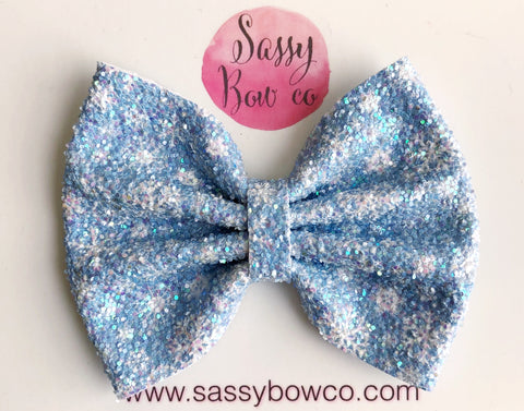 Snowflake Large Glitter Bow