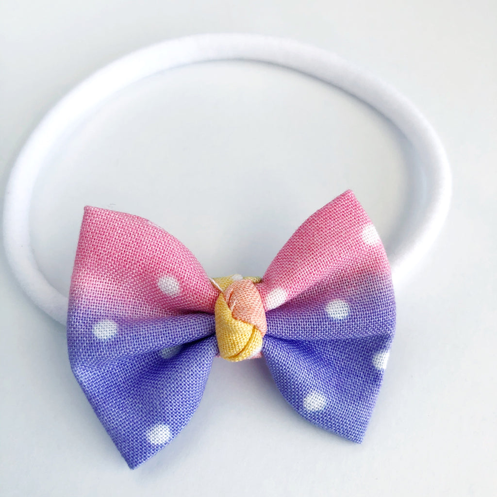 "Rainbow Dots 2"" Chloe bow"