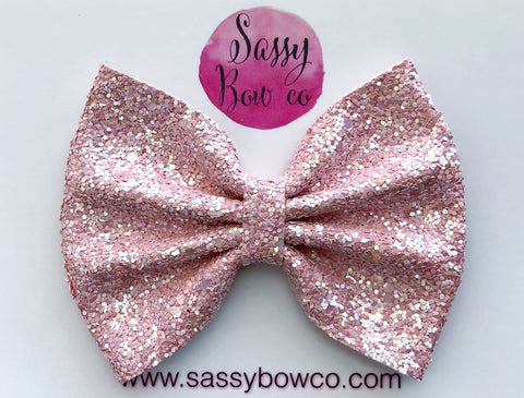 Large Blush Glitter Bow