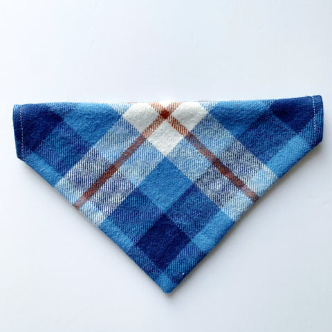 Flannel Blue & Brown Plaid Dog Bandana
