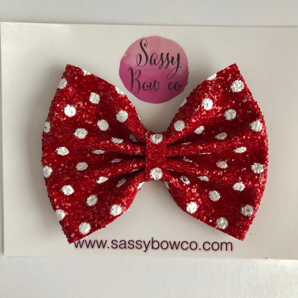 Red Minnie Dot Large Glitter Bow