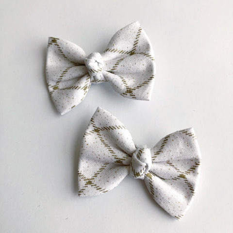 "White & Gold Stripe 2"" pigtail set"