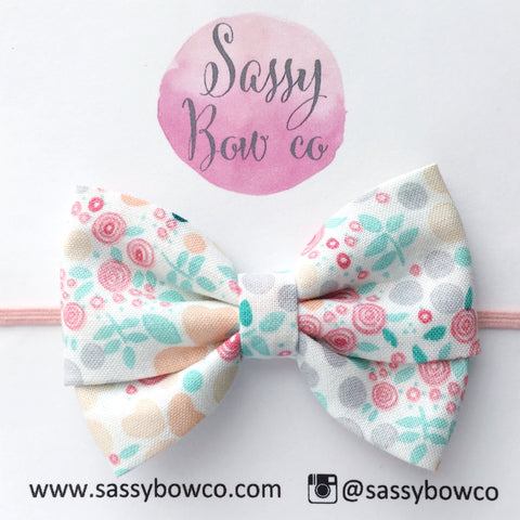 Peachy Rose Floral Madi Cotton Bow