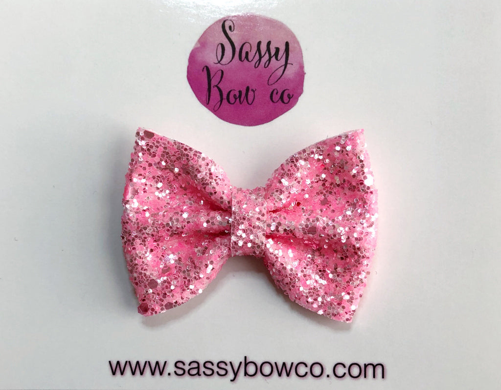 Light Neon Pink small Glitter Bow