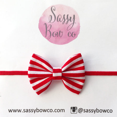 Red Stripe Chloe Cotton Bow