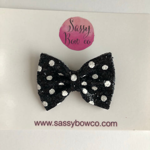 Black Minnie Dot Small Glitter Bow