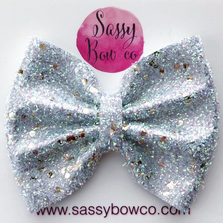 Large White Tinsel Glitter Bow
