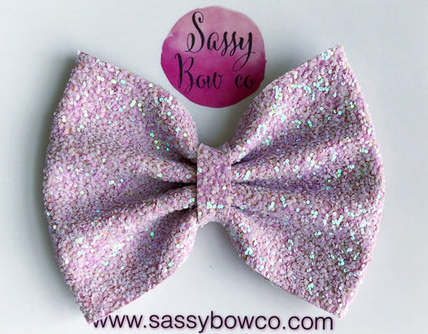 Large Ballet slipper pink Glitter Bow