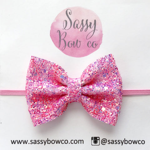 Small Pink Sapphire Glitter Bow