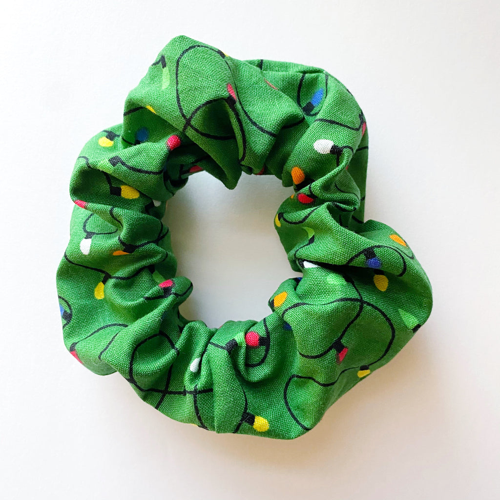 Christmas Lights Cotton Scrunchie