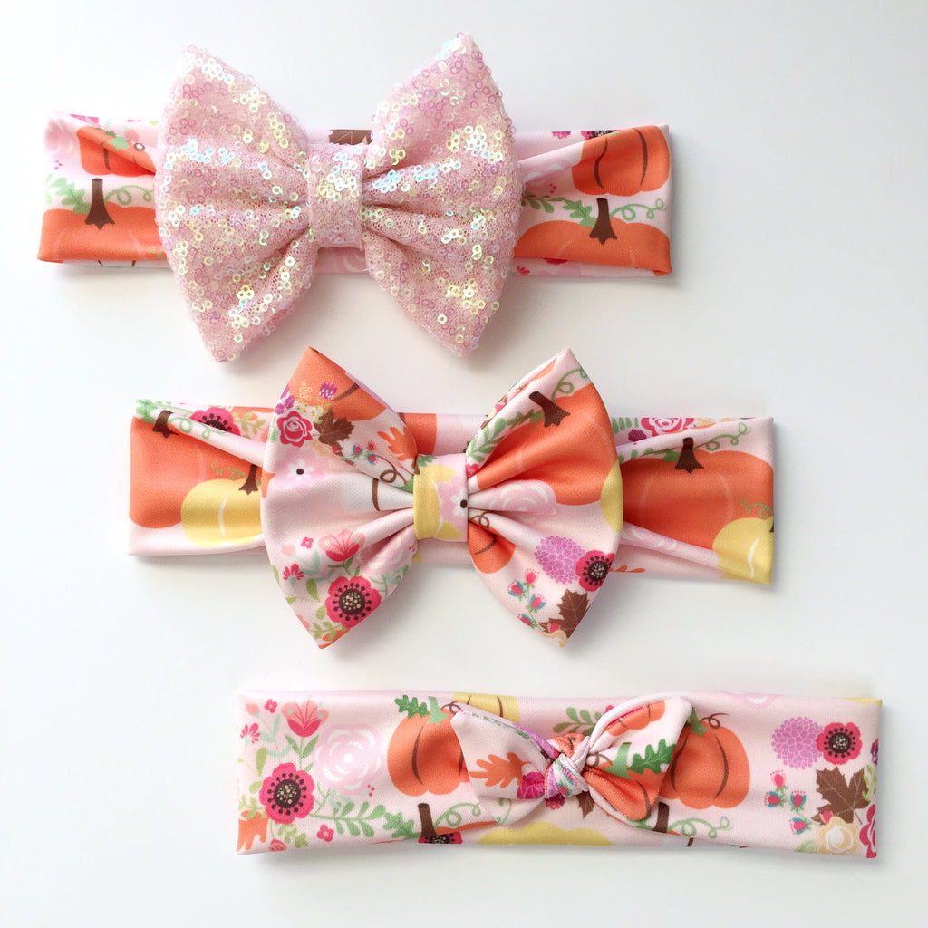 Floral Pumpkin Headbands