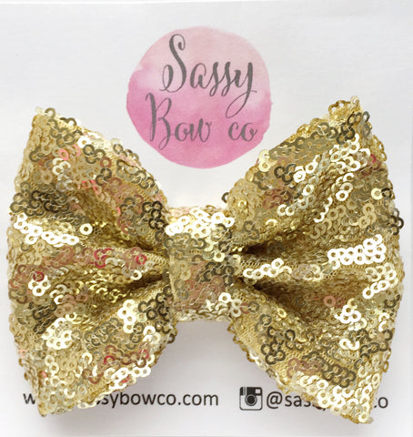 Yellow Gold Sequin Bow