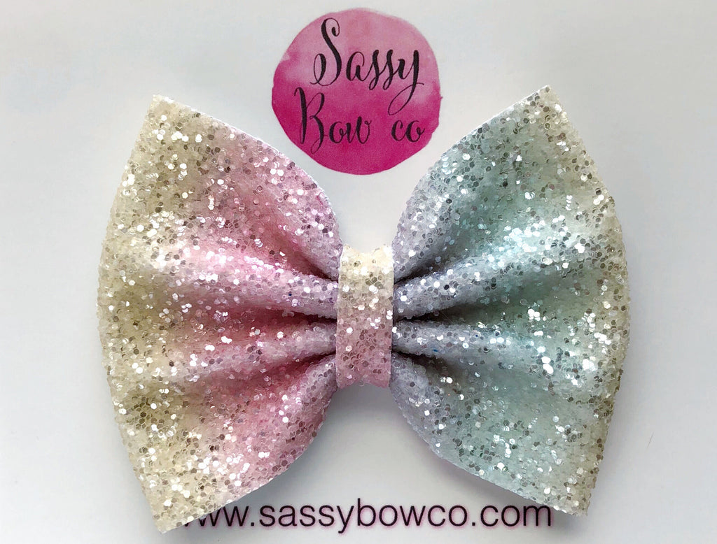 Large Pastel Rainbow Glitter Bow