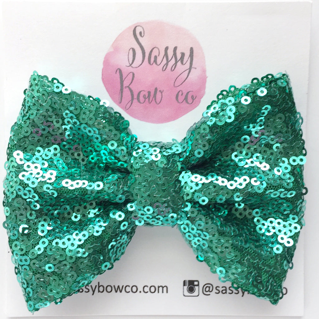 Green Sequin Bow