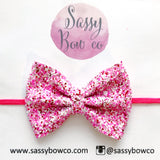Small Qupid Confetti Glitter Bow