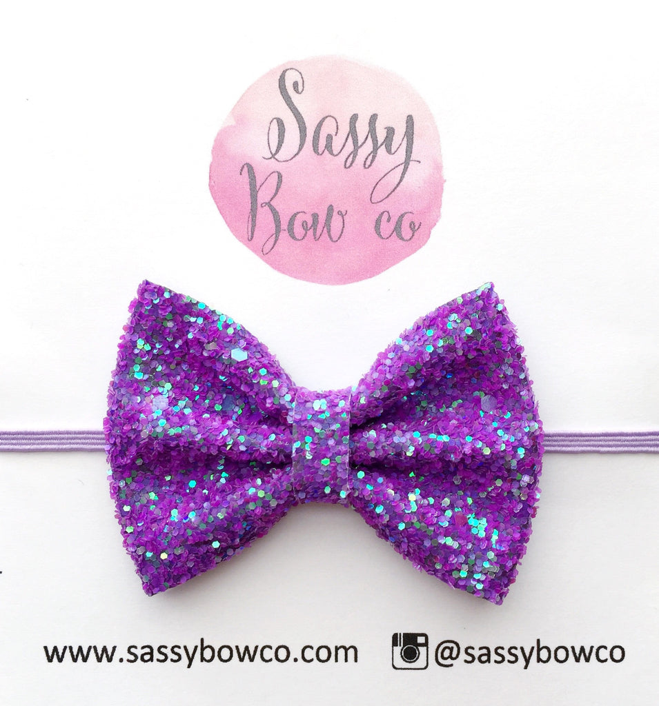 Grape Fizz Glitter Bow