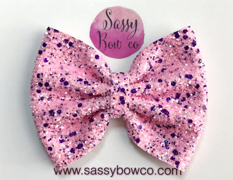 Large Pink + Purple Confetti Glitter Bow