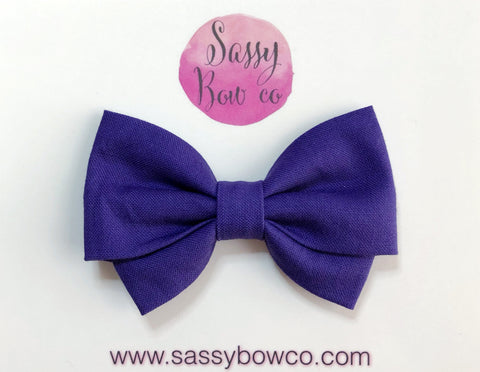Plum Purple Madi Cotton Bow