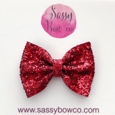 Small Red Glitter Bow